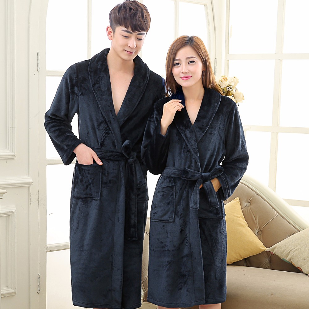 Long Robe Coral Fleece Main Navy