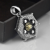 V YA Real 925 Sterling Silver Tai Chi BaGua Lucky Amulet Pendants For Male Men Yin