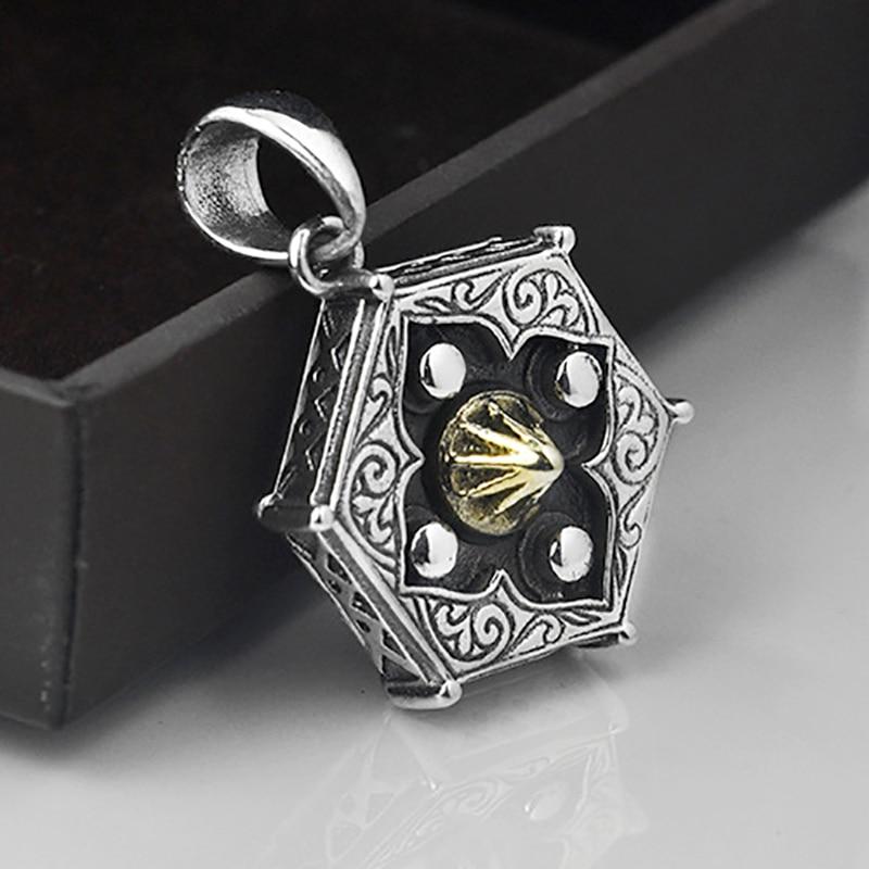 V.YA Real 925 Sterling Silver Tai Chi BaGua Lucky Amulet Pendants For Male Men Yin Yang Charm Pendants Men's Fine Jewelry