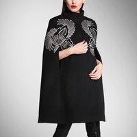 Распродажа Пальто для будущих мам Баян кабан осень и зима, новый Европейский Американский Для женщин шерстяной свитер пальто вышитые темпе
