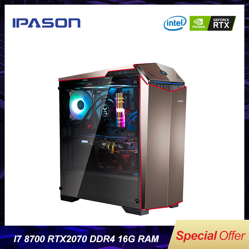 IPASON Gaming Computer PC P89 AMD 8-Core R7 2700/RTX2070 8G/16G RAM/256G Water-cooled Game Desktop Assembly Computer/Gaming PC(China)