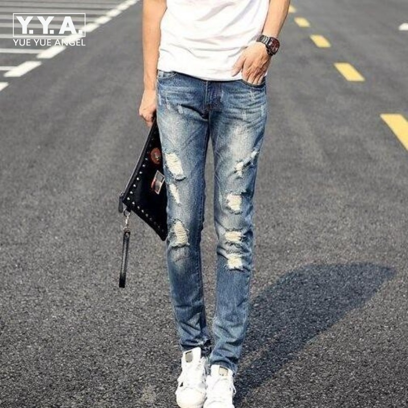 Spring New Vintage Mens Slim Fit Fashion Retro Ripped Hole Denim Jeans Skinny Jeans Trousers Size 28-36 Free Shipping yard outdoor inflatable recreation 4 in 1 inflatable water slide with pool for children adult large size with blower funny play