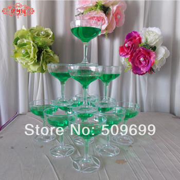 New arrival triangle cup tower wedding props /wedding decoration  /acrylic plastic champagne cup champagne goblet tower