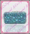 Aidocrystal ручной синий кристалл сцепления футляр ювелирное кристалл каменной сумочка