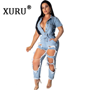 XURU summer new women's hole denim jumpsuit sexy fashion loose short-sleeved scrub washed denim jumpsuit