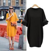 גודל גדול סגנון אירופאי נשים שמלה 2017 קיץ קפלי שרוול Loose שמלה M L XL XXL 3XL 4XL 5XL בתוספת שמלת גודל חרדל שחור