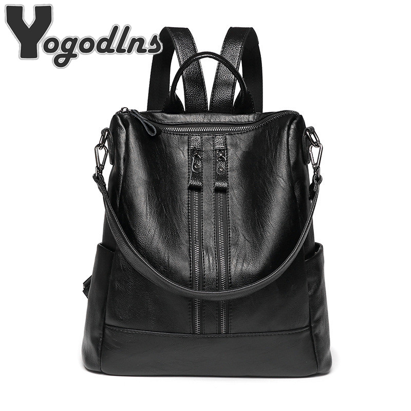 High Capacity Women Backpack For Traveling Large Size Soft Leather Hot Package Multi-function Bag Leather Ladies #1