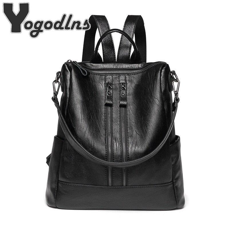 Hohe Qualität Rucksack Vintage Rucksack Große Größe Rucksack weichen PU leder paket multi-funktion tasche Damen casual reisetasche