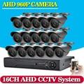 NEW,16CH CCTV DVR System AHD DVR 1080P HD 1.3 Megapixels Enhanced IR Security Camera with 36 LEDs 2500TVL Camera Security System