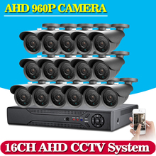 NEW,16CH CCTV DVR System AHD DVR 1080P HD 1.3 Megapixels Enhanced IR Security Camera with 36 LEDs 2500TVL Camera Security System