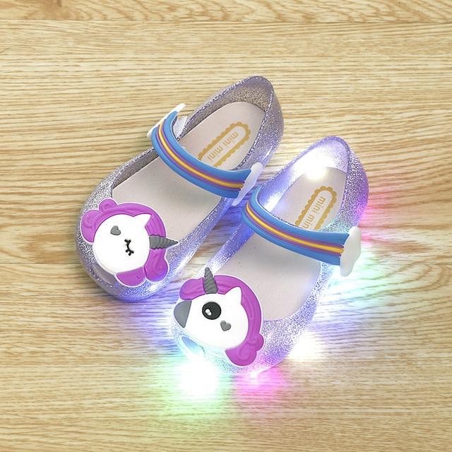 7bbe5591f2b330 2018 Hot Sale Girls Unicorn Shoes Kids Jelly Sandals LED Light Up Glitter  Shoes Little Girl