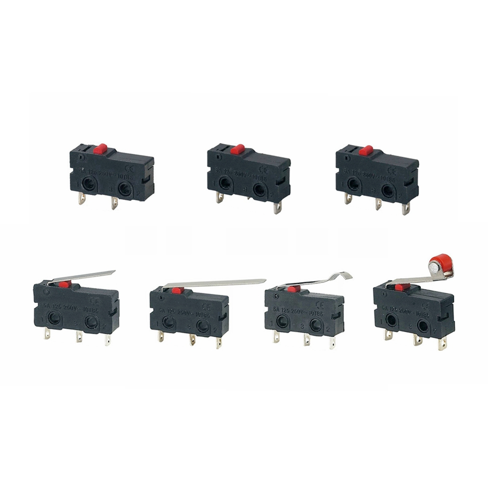 Image 2 - 5Pcs Mini Micro Limit Switch NO NC 3 Pins PCB Terminals SPDT 5A 125V 250V 29mm Roller Arc lever Snap Action Push Microswitches-in Switches from Lights & Lighting