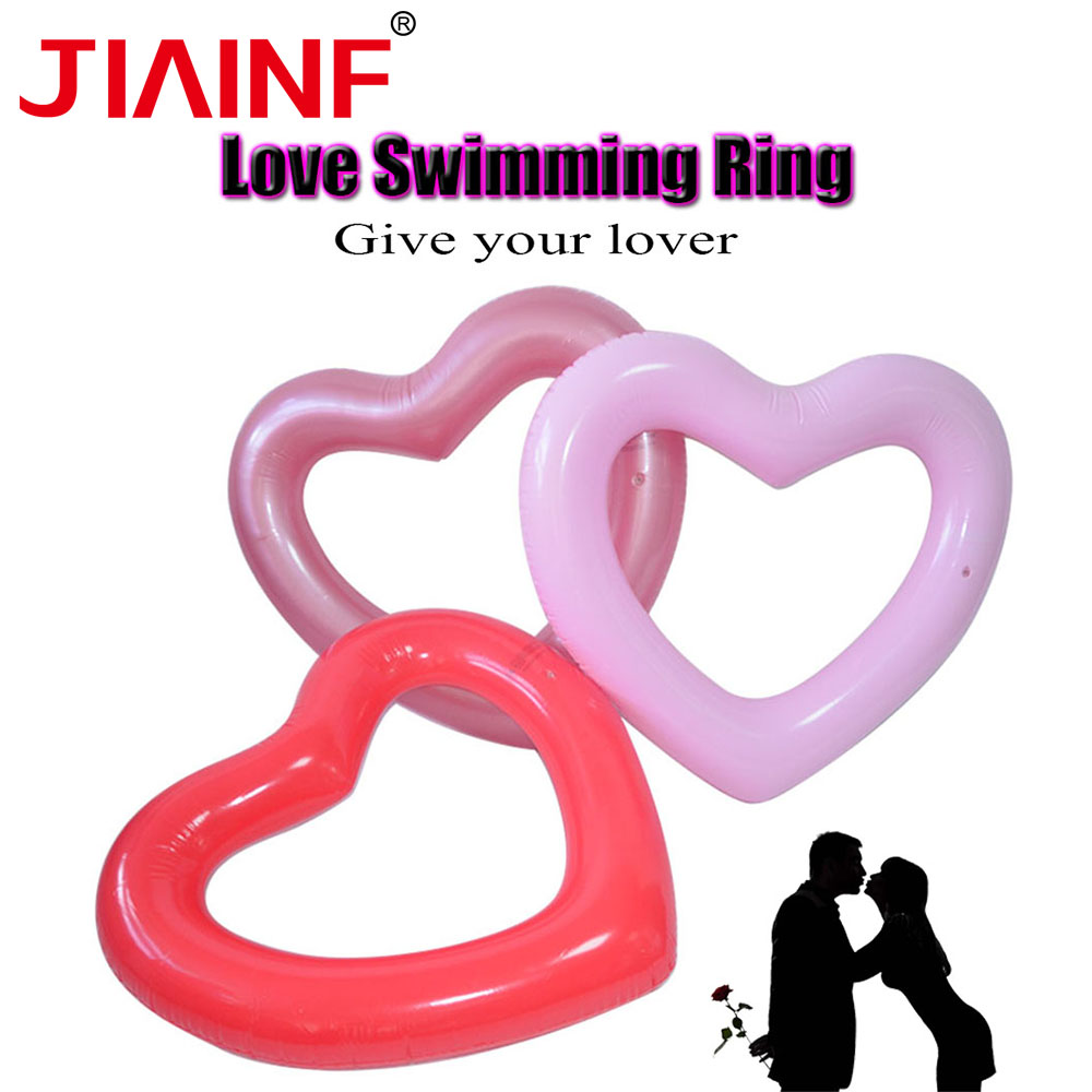 JIAINF Children Adults Couples Inflatable Ring Three Colors Heart Shaped New Arrival Circle For Swimming Swimming Pool Toys