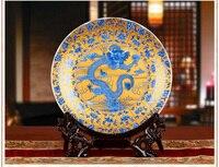 TNUKK Fengshui RoyalArt BaseChicken PlateDragons Ornamentales De Cerámica Decoración de La Placa placa De Madera Plato De Porcelana Set de regalo de Bodas