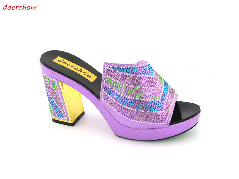 doershow New coming purple design African sandal shoes with shinning stones for fashion lady free shipping ! JK1-36 2016 spring and summer free shipping red new fashion design shoes african women print rt 3