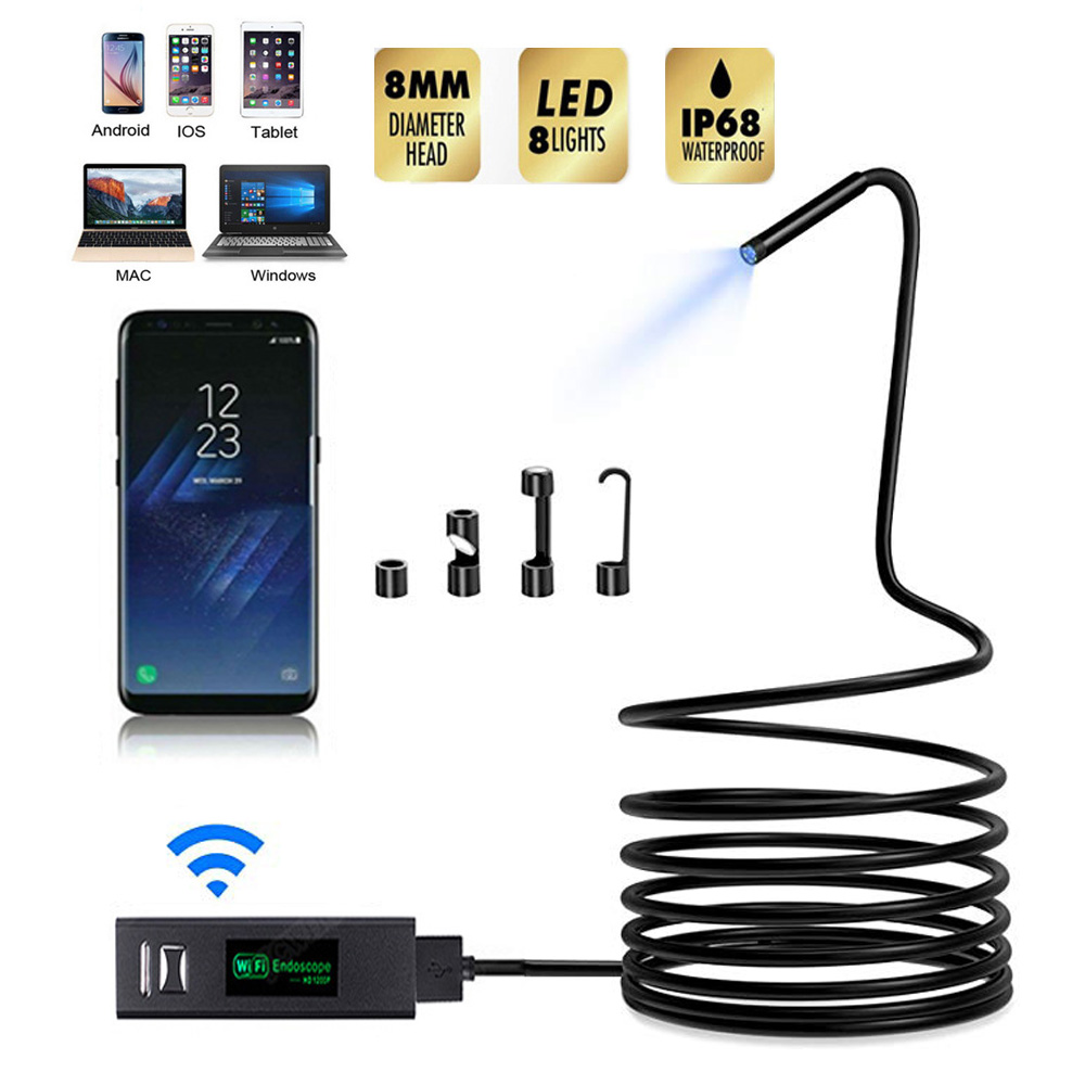 8mm Wifi HD 1200P Endoscope Camera USB IP68 Waterproof Borescope Semi Rigid Tube Wireless Video Inspection for Android/iOSSurveillance Cameras   -