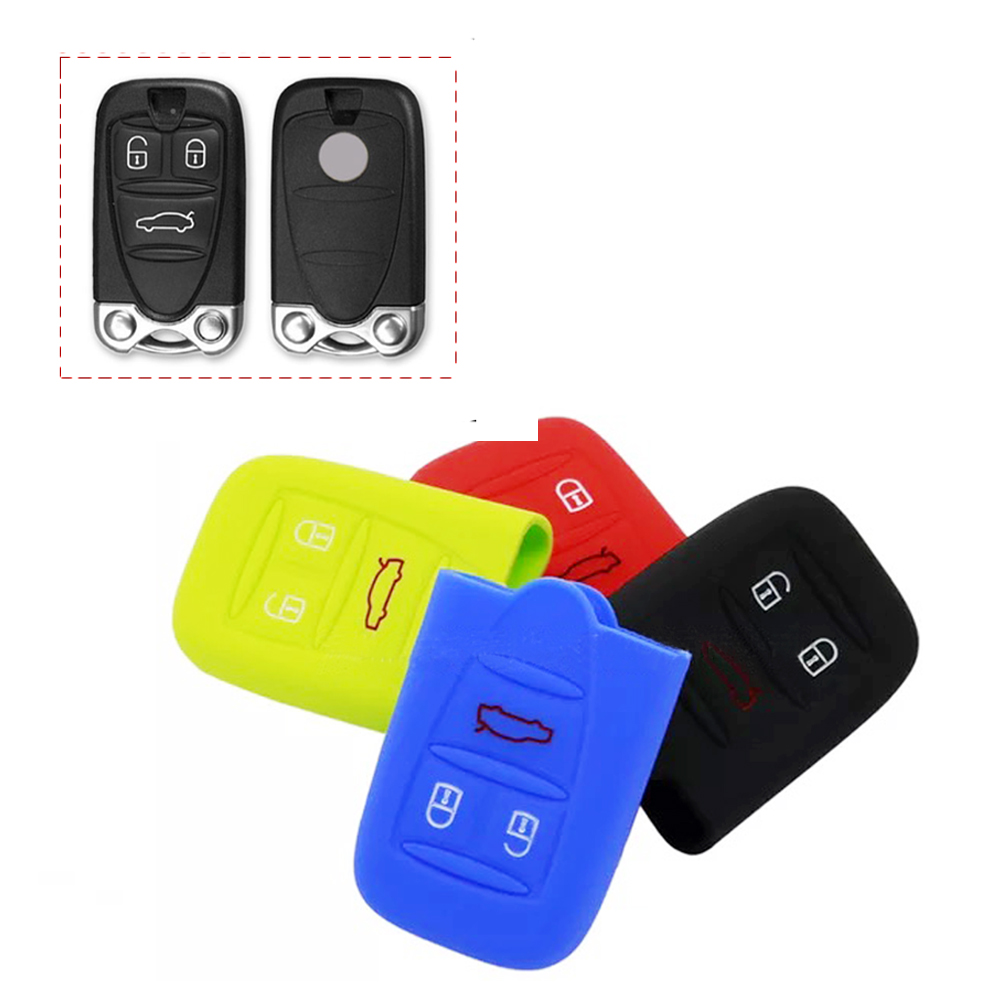 JEAZEA Silicone 3 Buttons Car <font><b>Remote</b></font> <font><b>Key</b></font> Case Fob Cover Holder Shell Fit for <font><b>Alfa</b></font> <font><b>Romeo</b></font> 159 Brera <font><b>156</b></font> Q4 GT 946 Spider image