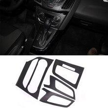 Jeazea estilo do carro interior console central moldagem de fibra carbono adesivo decalque para ford focus 3 mk3 2012 2013 em automático lhd