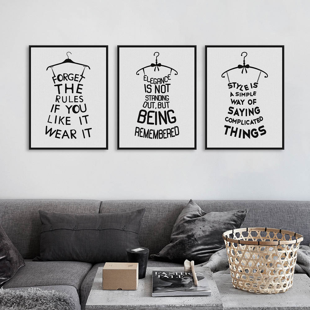 triptych black white minimalist typography fashion beauty quotes a4