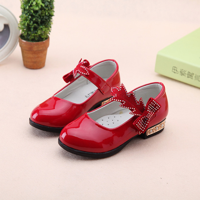 Spring/Autumn Children Girls Shoes Kids Fashion Princess Shoes Patent Leather With Bow Square Mouth Shoes Student Leather Shoe