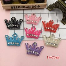 5pcs/lot Resin Kawaii Crown, Resin Flat back Cabochons for Hair Bow Center, Crafts Making, DIY, Jewelry Accessory(China)