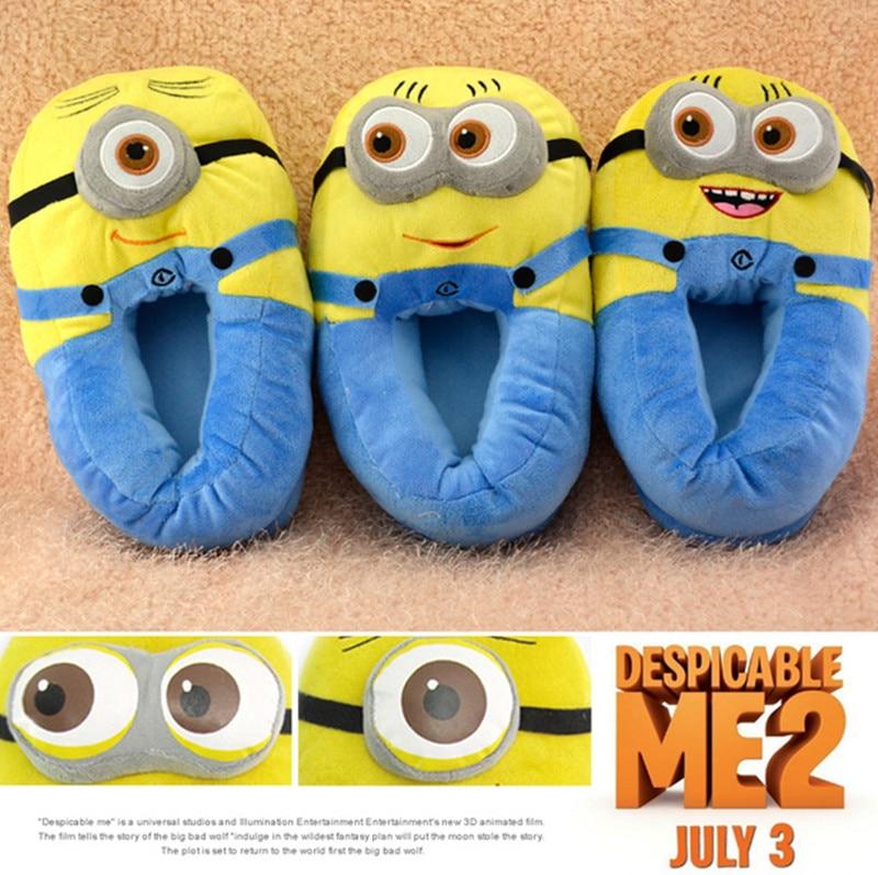 Sıcak Tarzı! Yeni Peluş Sıcak Pamuk Terlik Despicable Me Minions Bebek Kapalı Ayakkabı kaymaz Yumuşak Alt Ayakkabı Ev Kat Terlik
