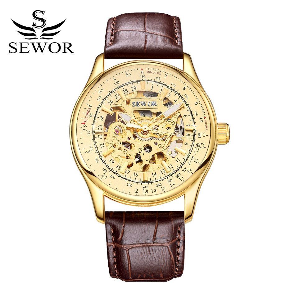 SEWOR Sport Men Leather Watch Clock Fashion Mechanical Automatic Wristwatch Men Famous Design Luxury Business Gold