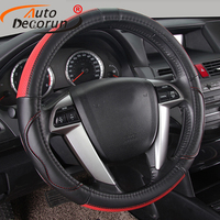 Quality Genuine leather car steering wheel cover handmade steering wheels covers cars black steering Wheel Hubs 38CM&rubber ring