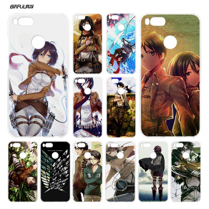 BiNFUL Attack on Titan 1 Clear Cover Case Coque for Xiaomi Redmi Mi A1 5X Note 2 3 4X 4 5 4A 5A Plus