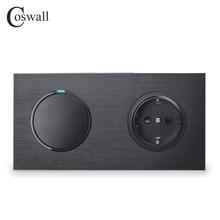 Coswall alluminio nero disegno pannello metallico presa a muro ue messa a terra + 1 Gang interruttore On / Off a 1 via indicatore LED serie R12