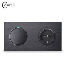 Coswall שחור אלומיניום ציור מתכת פנל האיחוד האירופי קיר שקע מעוגן + 1 כנופיית 1 דרך על/כיבוי אור LED מחוון R12 סדרה
