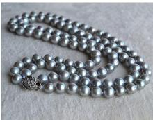 Women Gift Freshwater Necklace,Gray Color 2Rows 17-18 inches 7.5-8mm Round Shape Freshwater Pearl Necklace Lady's Pearl Jewelry недорого