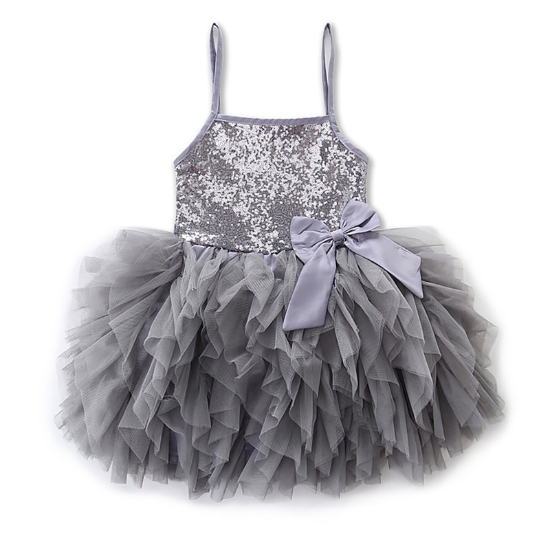 Girls Sequin Wedding Princess Dresses for Cute Girl Bridesmaid Fashion Comfort Bowknot Tiered Baby Flower Kids Party Dresses(China)