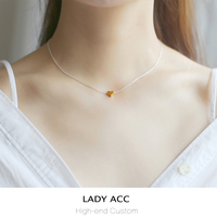 High Quality Fashion Simple Heart 925 Pure Silver Necklace Girls Gold Love Pendant Clavicle Chain Birthday