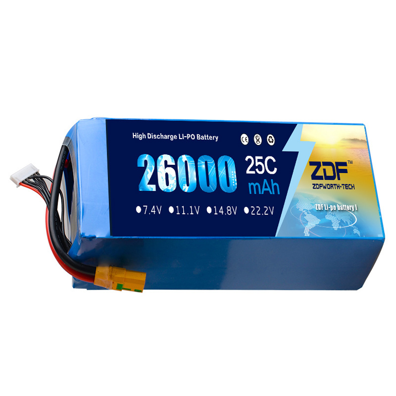 ZDF Lipo Battery 22.2V 26000mAh 6S 25C Lipo Battery AS150 Plug Batteries for Quadcopter UAV RC Helicopter Drone brand 2 channels acoustic remote control switch box 220v 10a relay wireless remote switch app android