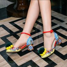 Newest Print Leather Mary Janes Women Pump Pom Pom Fur Decor Chunky High Heels Vintage Gladiator Sandals Stiletto Valentine Shoe