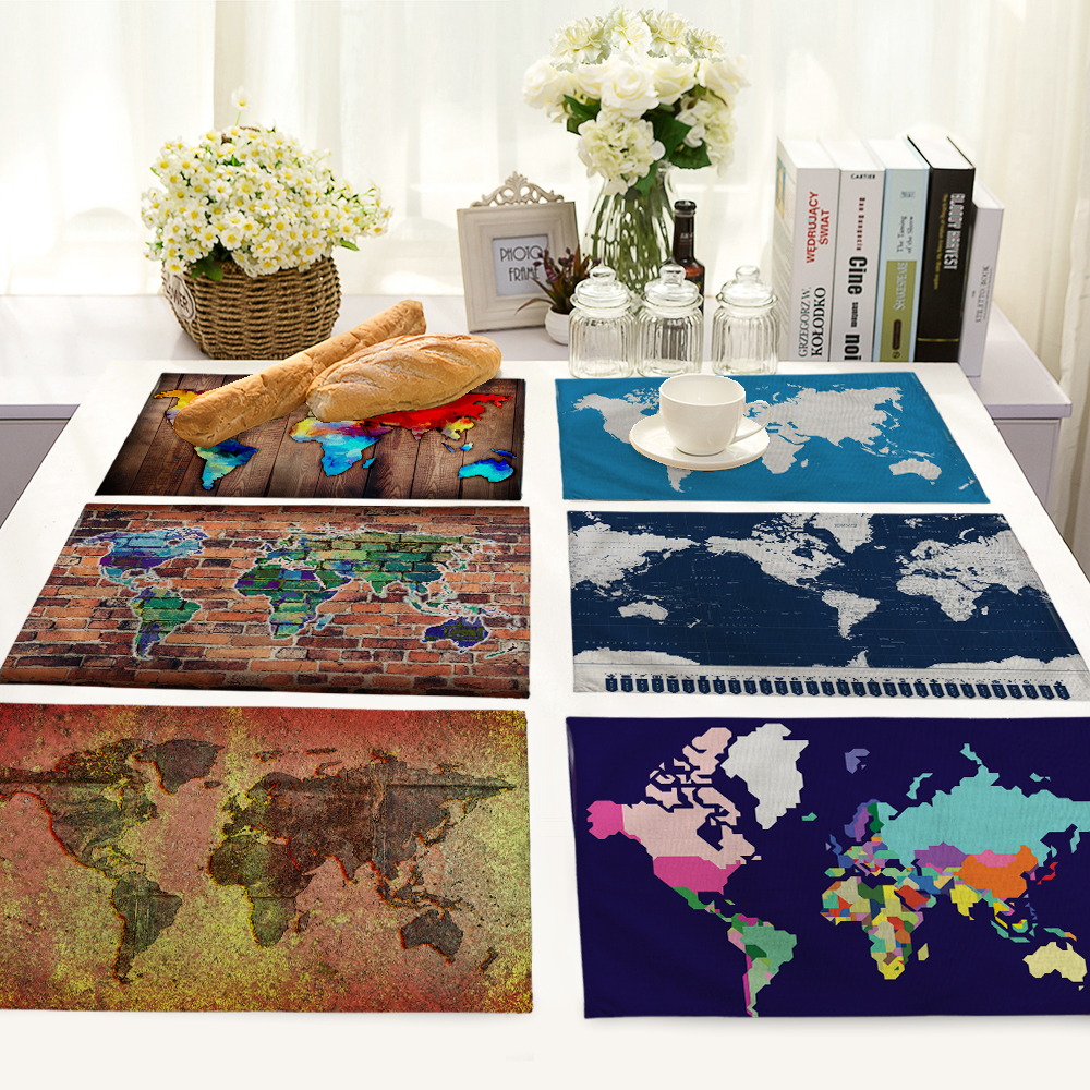 42x32cm Map Printed Table Napkins for Wedding Party India Hippie Table Napkin Cloth Western Dinner Mat Home Textile MAP0002