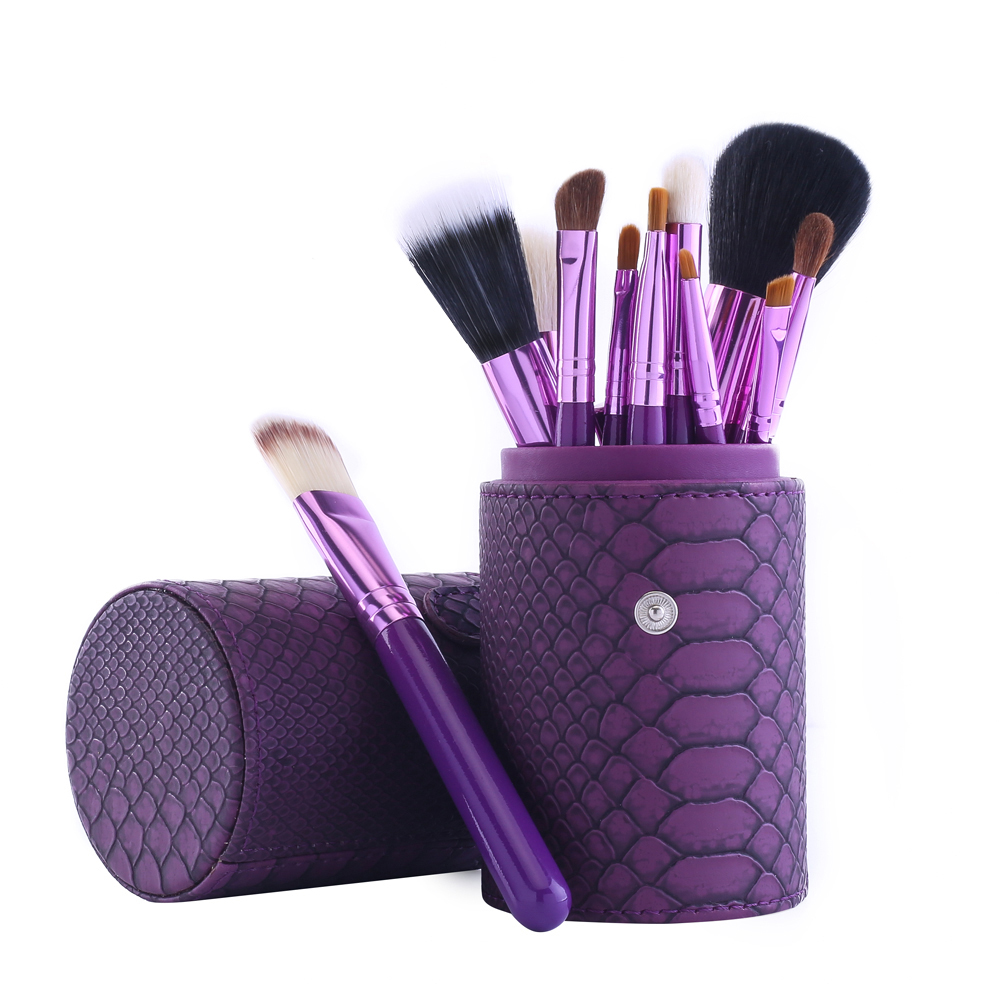 12 pcs Stone Pattern Makeup Brushes Set Professional Face Beauty Makeup Set Brushes + Comestic Brushes Cup Holder Case