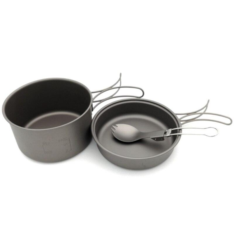 Casseroles en titane bols avec poignée pliante cuisinière Camping randonnée pique-nique ustensiles de cuisine avec cuillère en titane