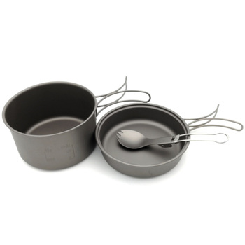 Titanium Pots Pans Bowls With Folding Handle Cook Camping Hiking Picnic Cookware Utensils With Titanium Spoon
