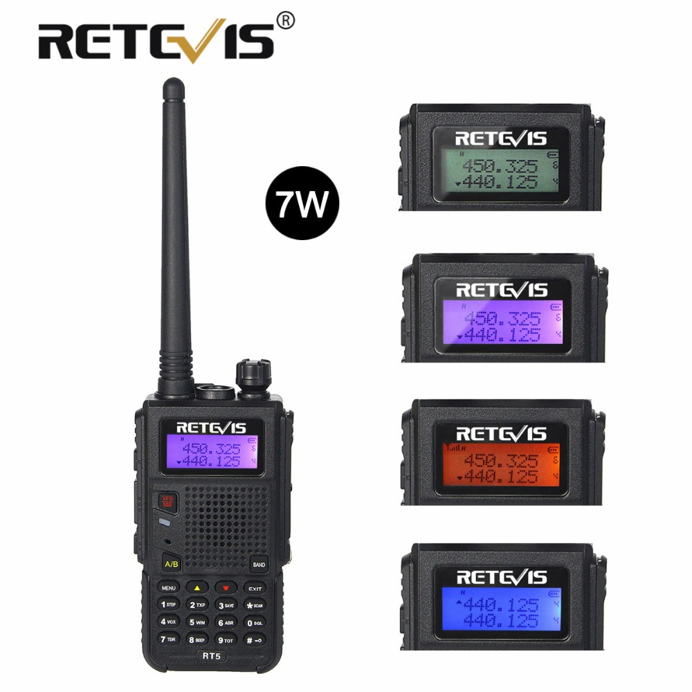 Retevis RT5 Walkie Talkie 7 watt 128CH VHF UHF Dual Band VOX FM Radio Scanner Amateur cb Radio Station Communicator hf Transceiver