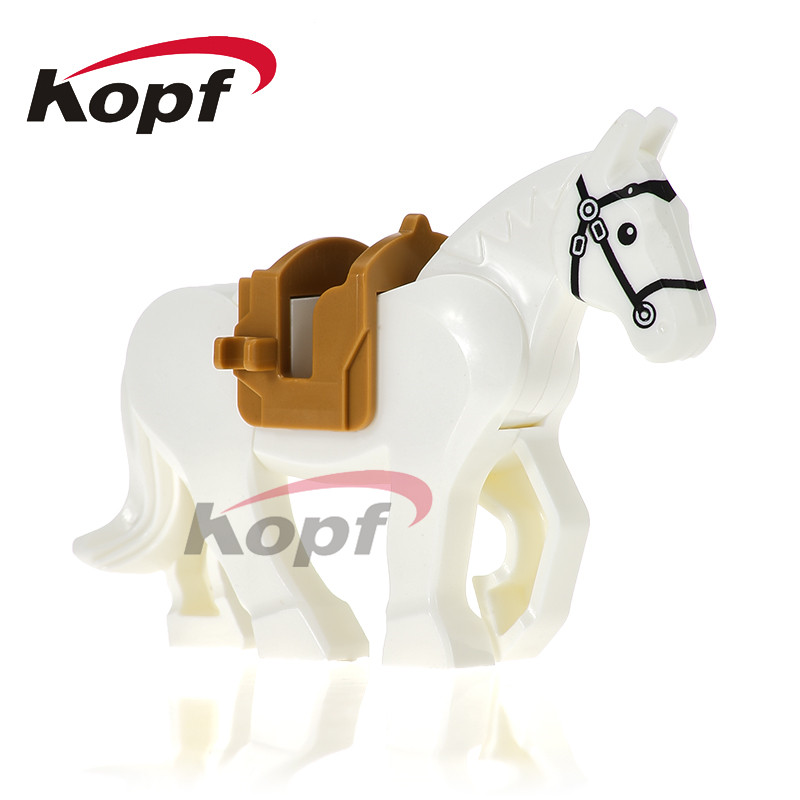 Single Sale Medieval Rome Knights Hobbit Lord of the Rings White Horse Battle Steed Toys Building Blocks children Gift XH 686 single sale myth unicorn toys lord of the rings hobbit horse nazgul with robe bricks building blocks children gift toys x0158