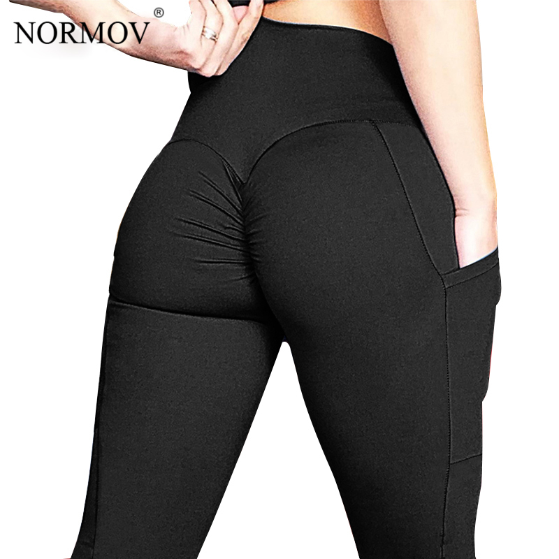 NORMOV Sexy Casual Push Up Leggings Women Gothic Pocket High Waist Pants Solid Black Skinny Classic Trousers Female Sportswear