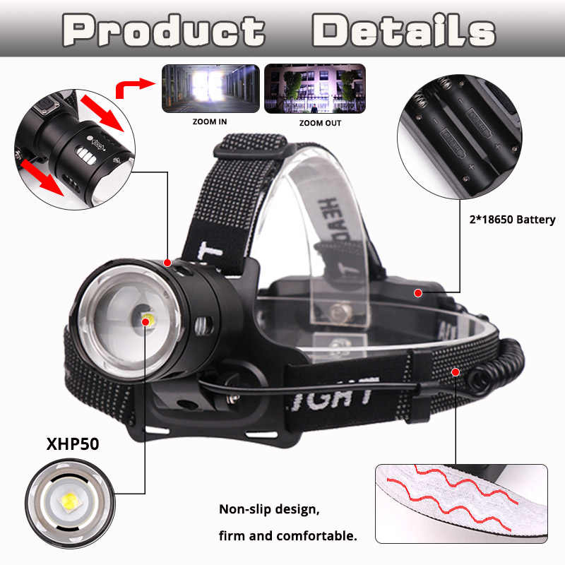 30000LM фар XHP50 светодиодный налобный фонарь XP-L-V6 фара рыболовное освещение фонарик для велосипеда Факел походный фонарь свет