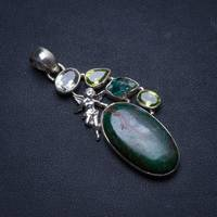 Natural Chrysocolla,Green Amethyst,Crystal Peridot Unique 925 Sterling Silver Pendant 2 1/4 U0328