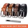 Dropship Brand Genuine Leather Pin Buckle Vintage Casual Men Belt Red Brown Cowbody Jeans Belt Strap Cintos 130cm Narrow belt