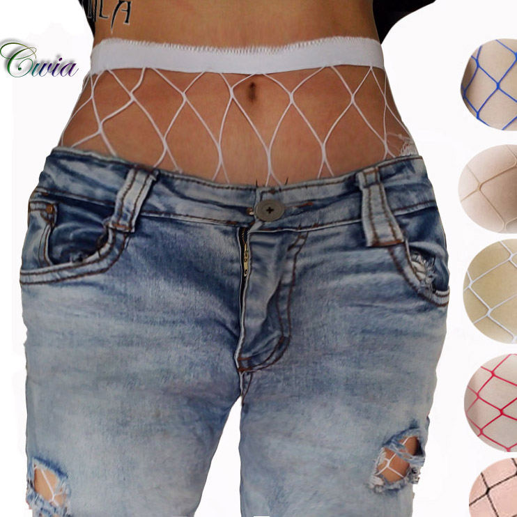 White Red Blue Women High Waist Hollow Out Stocking -8619