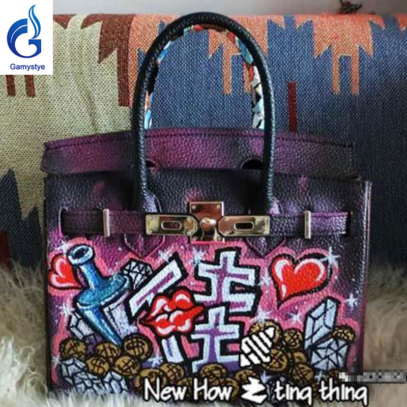 GAMYSTYE Graffiti Custom women bags Messenger Bags Hand Painted painting  lips rock harts bags handbags real genuine leather rock skull graffiti custom bags handbags women luxury bags hand painted painting graffiti totes female blose women leather bags