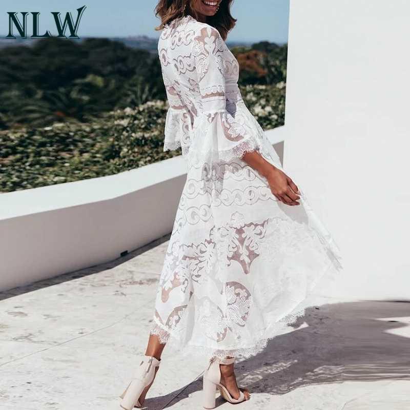 NLW broderie dentelle blanc Transparent Midi Vintage robe élégante décontracté robes de soirée femmes Chic Vintage robe Vestidos