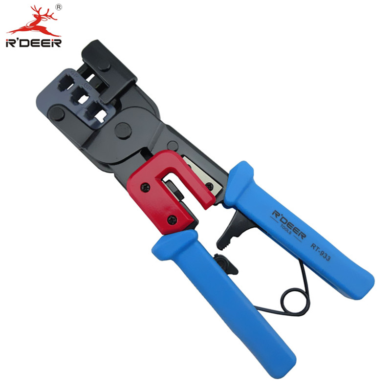 RDEER 3-in-1 Crimping Pliers 220mm Wire Stripper Network Ratchet Press Pliers Crimping Tool Cable Cutter Multitool Hand Tools xkai 14pcs 6 19mm ratchet spanner combination wrench a set of keys ratchet skate tool ratchet handle chrome vanadium